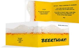 Birthday Party Invitations - Beerthday! - Yellow (K19)