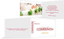 Communion Thank You Cards -  Script - Red (K19)