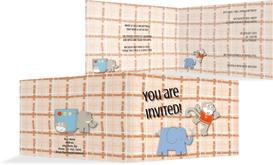 Birthday Party Invitations - Elephant Monkey - Orange (K19)