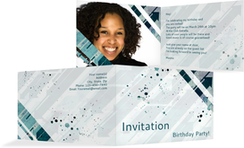 Birthday Party Invitations - Directions - Turquoise (K19)