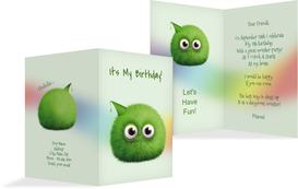 Birthday Party Invitations - Fur Ball - Green (K20)