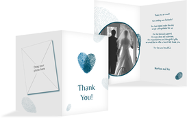 Wedding Thank You cards - Fingerprints - Turquoise (K20)