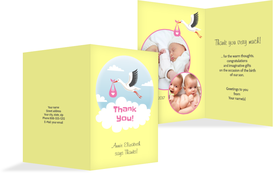Baby thank you card - Stork, Girl - Yellow (K20)