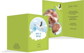 Birth Announcement card - Stork, Boy - Green (K20)