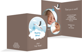 Baby Thank You card - Stork, Boy - Brown (K20)