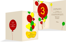 Birthday Party Invitations - Airballoons - Orange (K20)