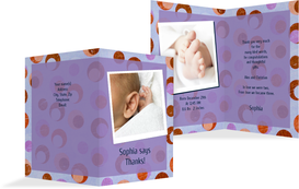Baby Thank You Cards - Cats - Purple (K20)