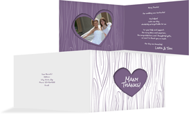 Wedding Thank You cards - Heart on Tree - Purple (K19)