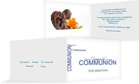 Communion Invitation cards - Script - Blue (K19)