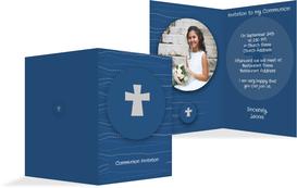 Communion Invitation cards - Wave Cross - DarkBlue (K20)