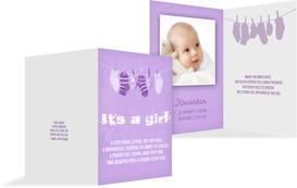 Birth Announcement card - It's a Girl! - Purple (K20)