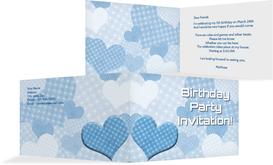 Birthday Party Invitations - Hearts and Dots - Blue (K19)
