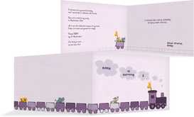 Birthday Party Invitations - Toddler Zoo Train - Purple (K19)