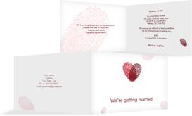 Wedding Invitation cards - Fingerprints - Red (K19)