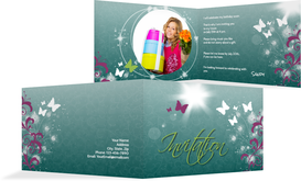 Birthday Party Invitations - Beautiful Photo - Turquoise (K19)