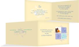 Communion Invitation cards - Christian Fish - Purple (K19)