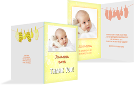 Baby Thank You card - It's a Girl! - Yellow (K20)