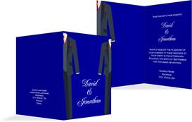 Wedding Invitation cards - Men in Tux - Blue (K20)