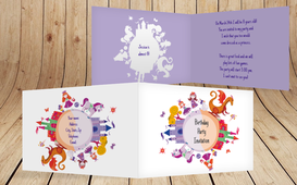 Birthday Party Invitations - Dream Princess - Purple (K19)