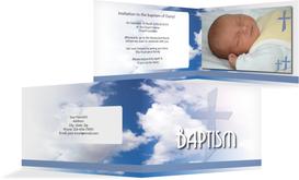 Baptism Invitation Cards - Cross Design - Blue (K19)