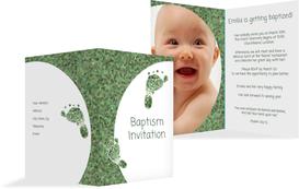 Baptism Invitation cards - Footprint - Green (K20)