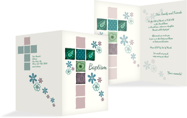Baptism Invitation cards - Floral Cross - Green (K20)