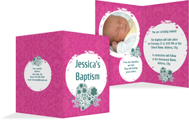 Baptism Invitation cards - Circles - Pink (K20)