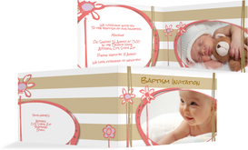 Baptism Invitation cards - Flowers and Stripes - Brown (K19)