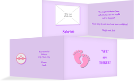 Adoption Announcement cards - Girl - Purple (K19)