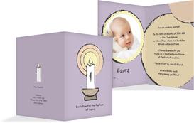 Baptism Invitation Cards - Candlelight - Purple (K20)