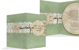 Wedding Invitation Cards - Vintage Lace - Green (K20)