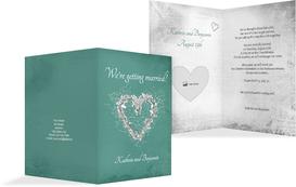 Wedding Invitation - Glamour Heart 2 - Turquoise (K20)