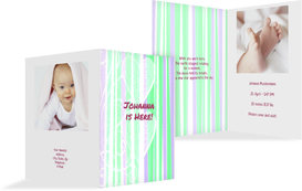 Birth Announcement Cards - Hearts and Stripes - Green (K20)