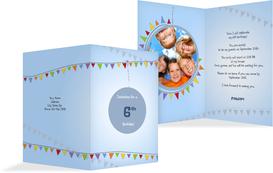 Birthday Party Invitation - Pennants - LightBlue (K20)
