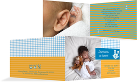 Birth Announcement card - Grid - Yellow (K19)