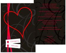 Wedding Invitation Cards - Ribbon - - Red (K31)